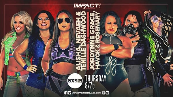 In a six-women Knockouts division tag team match, Alisha Edwards, Nevaeh, and Tenille Dashwood will team up against Jordynne Grace, Havok, and Rosemary.
