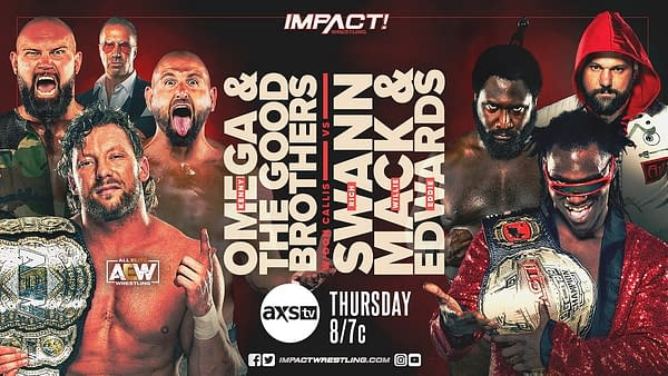 AEW World Champion Kenny Omega and the former Impact Tag Team champs The Good Brothers will take on Impact World Champion Rich Swann, Willie Mack, and Eddie Edwards in the main event of Impact Wrestling tonight, ahead of Omega and Swann's title vs. title match at Impact Rebellion later this month.