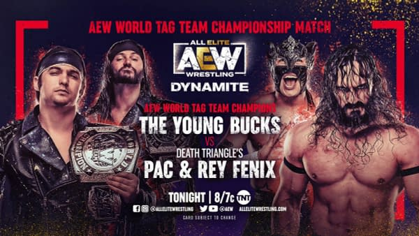 The Young Bucks will defend the AEW Tag Team Championships on Dynamite tonight against Death Triangle's Pac and Rey Fenix.