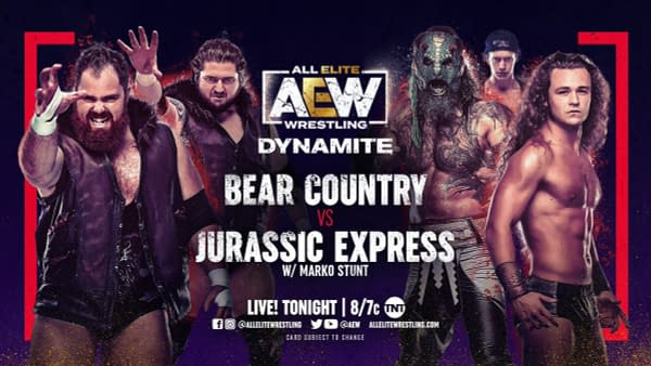 Tonight on AEW Dynamite, Bear Country faces Jurassic Express in a Godzilla vs. Kong cross-branded marketing synergy showdown.