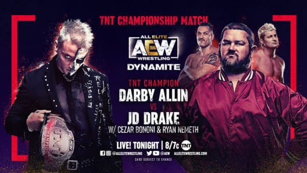 Darby Allin will defend the TNT Championship against JD Drake on AEW Dynamite tonight.