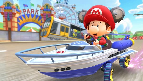 We're racing in boats on lands now. That's the next move in kart evolution. Courtesy of Nintendo.