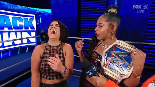 Bayley finds something to laugh about -- Bianca Belair -- on WWE Smackdown