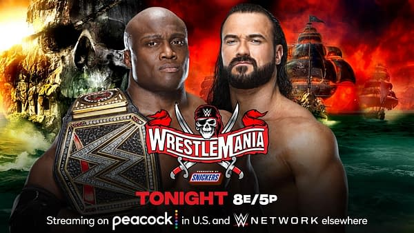 Bobby Lashley will defend the WWE Championship against Drew McIntyre at WrestleMania Night 1 tonight. [Match graphic: WWE.]