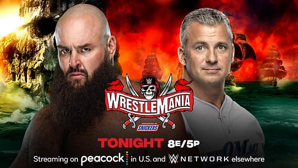 Shane McMahon will get these hands after spending weeks calling Braun Strowman stupid at WrestleMania Night 1 tonight. [Match graphic: WWE]
