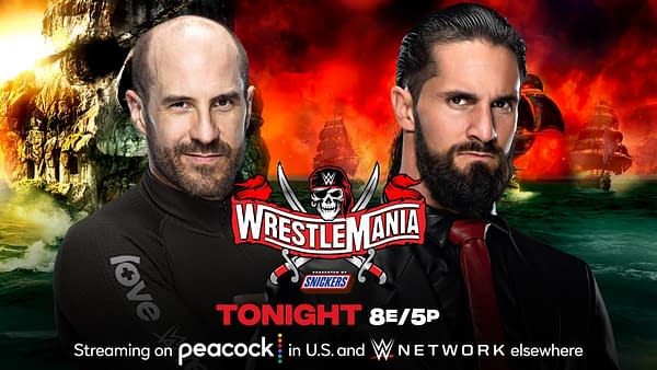 Cesaro will face Seth Rollins in Cesaro's first-ever one-on-one match at WrestleMania tonight at WrestleMania Night 1. [Match graphic: WWE]