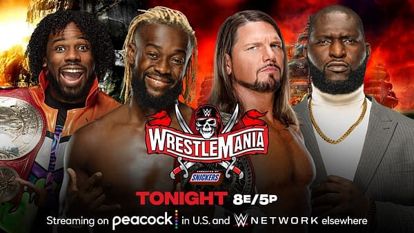 AJ Styles and Omos will team up in an attempt to win the Raw Tag Team Championships from The New Day at WrestleMania Night 1. [Match graphic: WWE.]
