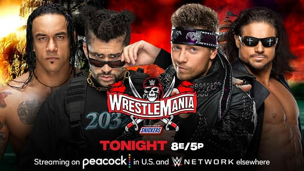 Bad Bunny will team with Damian Priest to face The Miz and John Morrison at WrestleMania Night 1 tonight. [Match graphic: WWE.]
