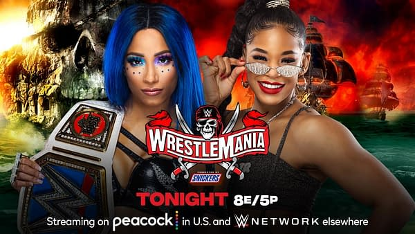 Tonight at WrestleMania Night 1, in what looks to be the main event, Sasha Banks will defend the Smackdown Women's Championship against Bianca Belair. [Match graphic: WWE.]