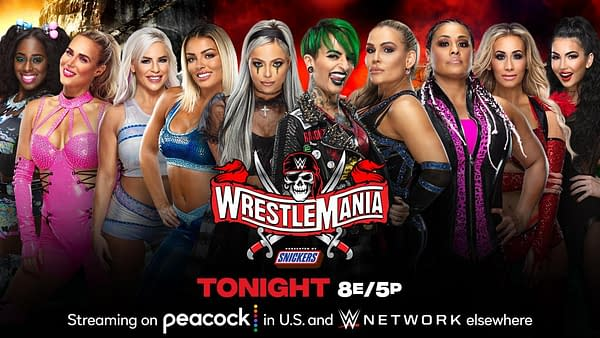 The women's tag team roster (read: anyone without something else to do) will face off in a tag team turmoil match tonight at WrestleMania Night 1 to determine who challenges for the Women's Tag Team Championships against Nina Jax and Shayna Baszler at WrestleMania Night 2 tomorrow. [Match graphic: WWE]