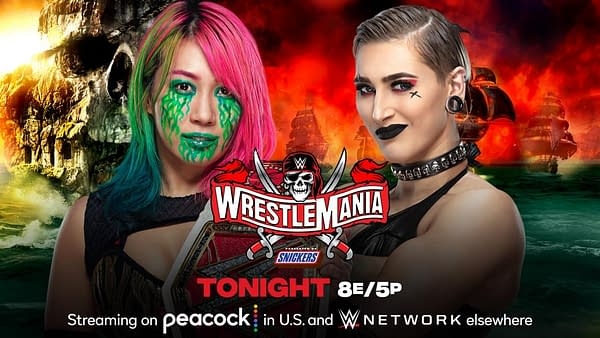 Match Graphic for Asuka vs. Rhea Ripley for the Raw Women's Championship at WrestleMania 37 Night 2