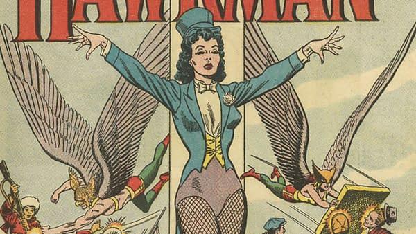 The debut of Zatanna in the title splash of Hawkman #4, DC Comics, 1964.
