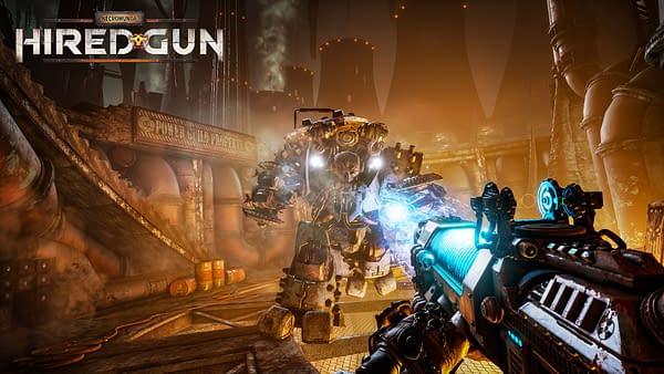 Promotional key art for Streum On Studio's upcoming game, Necromunda: Hired Gun, based on the Warhammer 40,000 world by Games Workshop.