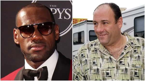 L-R: LeBron James arrives at the 2013 ESPY Awards at the Nokia Theater on July 17, 2013 in Los Angeles, CA. Editorial credit: Kathy Hutchins / Shutterstock.com   James Gandafini, known as Tony Soprano in The Sopranos, signs autographs outside the Bada Bing on October 1, 2003 Lodi, NJ. Editorial credit: Eugene Parciasepe / Shutterstock.com