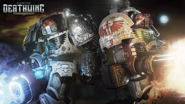 Promotional key art from Streum On Studio's game Space Hulk: Deathwing, a game based on Games Workshop'sWarhammer 40,000 intellectual property. Streum On Studio is now a part of Focus Home Interactive.