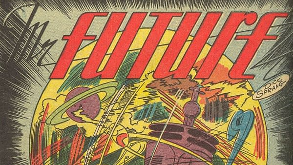 Title splash from Strange Adventures #1 for a story featuring H.G. Wells drawn by Dick Sprang, DC Comics, 1950.