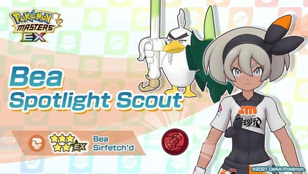 Bea & Sirfetch'd in Pokémon Masters EX. Credit: DeNA