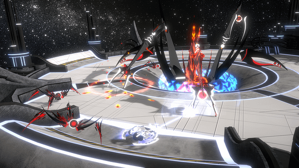 A screenshot from Curved Space, an incoming indie shooting game by developer Maximum Games.