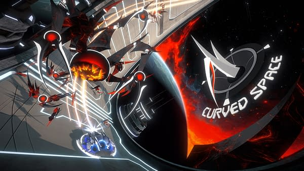 Key art for Curved Space, an upcoming indie shoot-'em-up game by California-based developer Maximum Games.