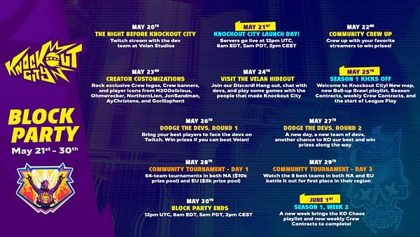 A look at the Knockout City Block Party schedule, courtesy of Electronic Arts.