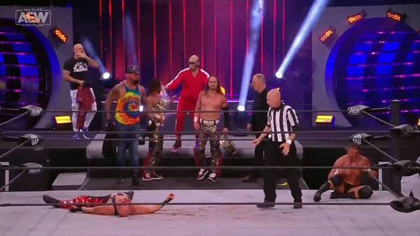 The Young Bucks stand triumphant over a fallen SCU in a heartbreaking storyline with emotional impact that just doesn't belong on a pro wrestling show.