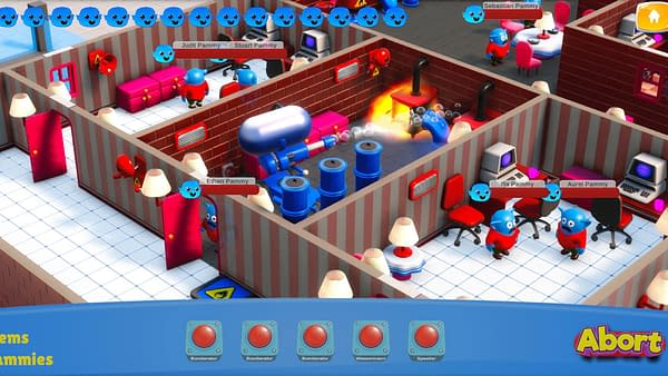 A screenshot from Panic Mode by Moebiusgames, in which a flamethrower is incinerating some of the Pammies in your care.