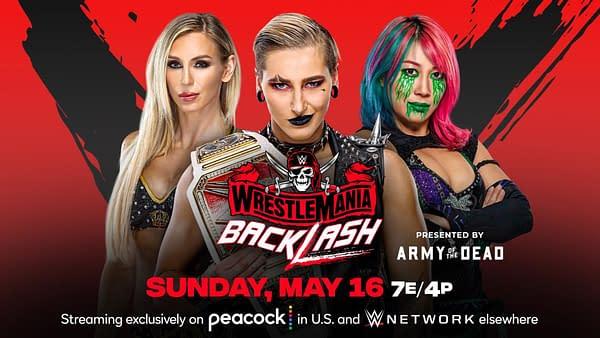 WWE WrestleMania Backlash match graphic: Rhea Ripley vs. Asuka vs. Charlotte Flair for the Raw Women's Championship