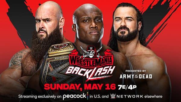 WWE WrestleMania Backlash match graphic: Bobby Lashley vs. Drew McIntyre vs. Braun Strowman for the WWE Championship