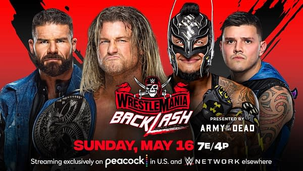 WWE WrestleMania Backlash Match Graphic: Dirty Dawgs vs. Mysterios for the Smackdown Tag Team Championships
