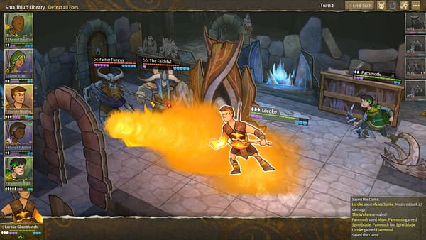 A combat screenshot from character-driven RPG Wildermyth, by independent game studio Worldwalker Games.