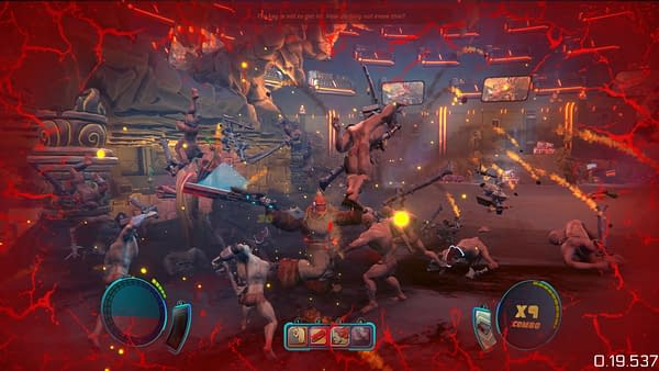 A fun and hectic gameplay screenshot from BADA Space Station by indie developer Terahard.