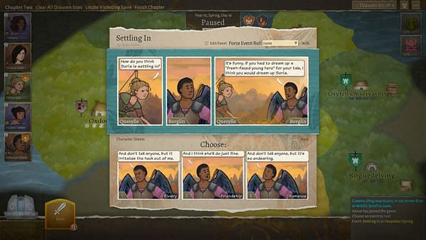A story-driven screenshot from Wildermyth, an indie fantasy role-playing game by developer Worldwalker Games.