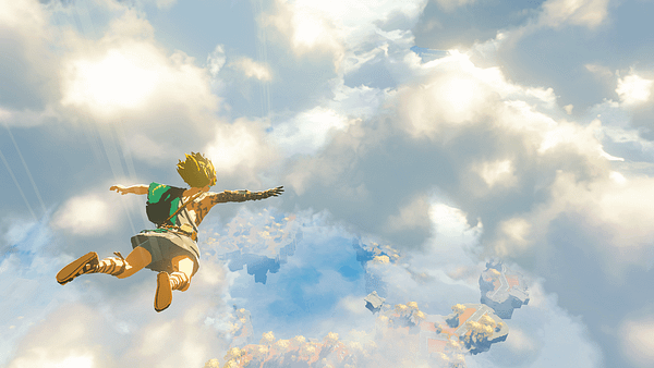Link flying through the air and... what happened to his arm?!? Courtesy of Nintendo.