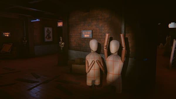 A screenshot from Hello Puppets! Midnight Show, in which you as Owen are hiding from your own murderous and sadistic puppet creations. Attributed to tinyBuild.