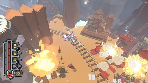 A screenshot from Trifox, an upcoming game by Belgium-based indie developer Glowfish Interactive.