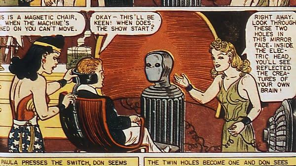 Comic Cavalcade #16 (DC, 1946) Paula von Gunther scene.