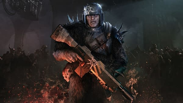 Key art for Warhammer 40,000: Darktide, an upcoming video game by independent developer Fatshark.