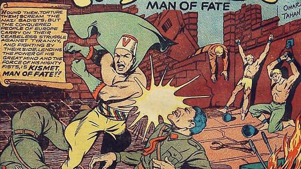 Kismet, Man of Fate title splash from Bomber Comics #1, (Elliot, 1944).