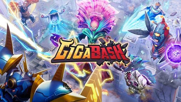 Key art from kaiju/mecha brawler GigaBash by independent game developer Passion Republic Games.