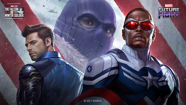 Finally, we're seeing Falcon in that new Cap uniform and the shield jump into the game. Courtesy of Netmarble.