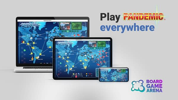 An example of Board Game Arena's classic Z-Man Games Pandemic game interface renderings on various devices.