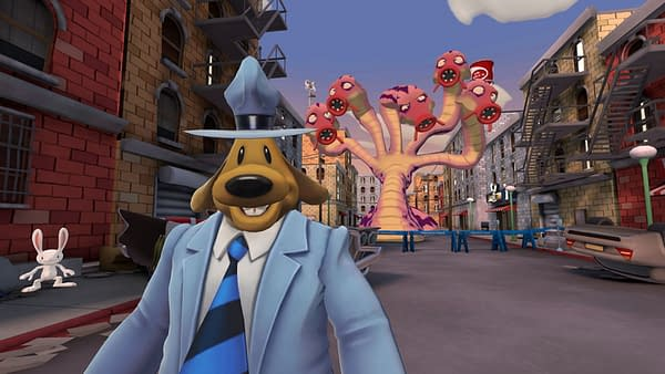 Another screenshot from Sam & Max: This Time It's Virtual! for the Oculus Quest, in which the titular duo prepares to face a fearsome hydra-like beast in hand-to-hand combat... Or flee from it. It could go either way, most likely.