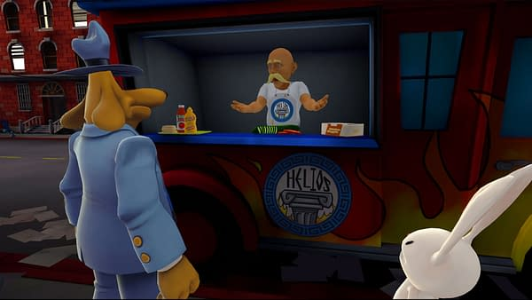 A screenshot from Sam & Max: This Time It's Virtual!, in which the duo speaks with a street food vendor.
