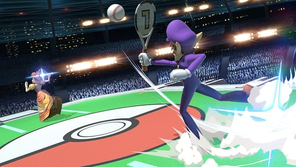 An image tweeted out by Smash Bros. series creator Masahiro Sakurai celebrating the 21st anniversary of the creation of the character Waluigi in Mario Tennis. But... Is that a baseball?