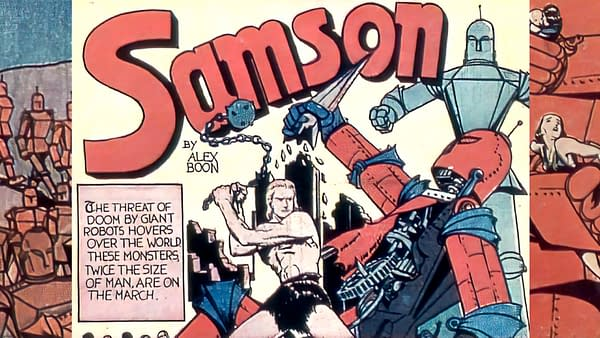 Fantastic Comics #4 (Fox, 1940) interior Samson story.
