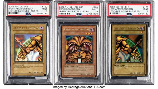 A closer shot of the arms and head of Exodia, the Forbidden One from the Yu-Gi-Oh! card game. Currently available on auction with both legs at Heritage Auctions.