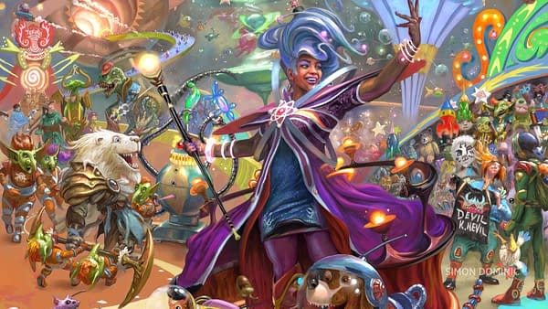 The key art for Unfinity, the next silver-bordered set for Magic: The Gathering. It will be set in the context of a space carnival setting. To be released in Q2 2022. Key art illustrated by Simon Dominic.