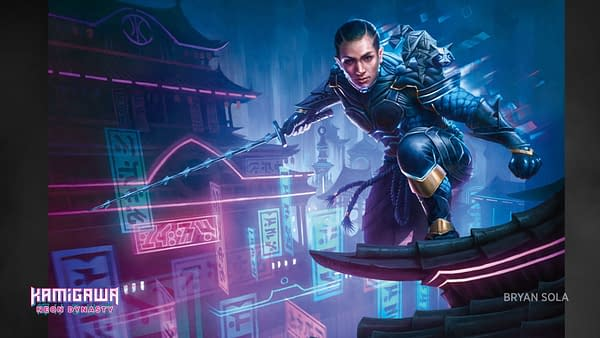 The key art from Kamigawa: Neon Dynasty, an upcoming Magic: The Gathering set releasing in Q1 2022. This art features Kaito, a new Planeswalker character who will be appearing in the set. Illustrated byBryan Sola.