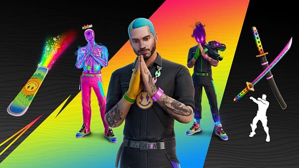 A look at the J Balvin content in Fortnite, courtesy of Epic Games.