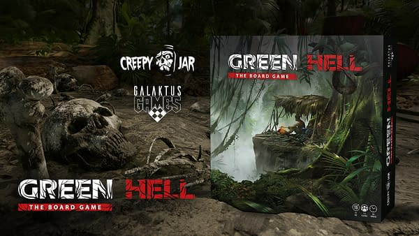 The front cover of the box for Green Hell: The Board Game, a tabletop game adapted from the open-world survival simulator. Image attributed to designer Galaktus Games.